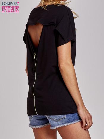 Czarny t-shirt z aplikacją z dżetów WHAT?                                  zdj.                                  4