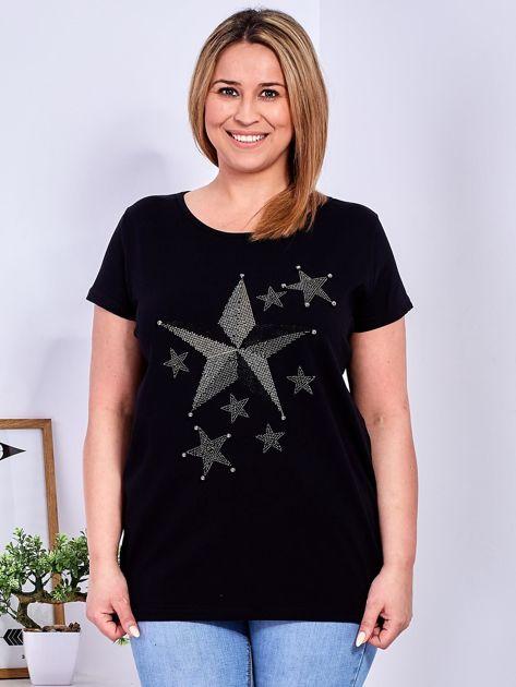 Czarny t-shirt z błyszczącymi gwiazdami PLUS SIZE                                  zdj.                                  1