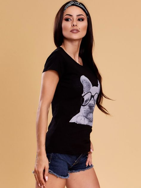 Czarny t-shirt z buldożkiem                              zdj.                              6