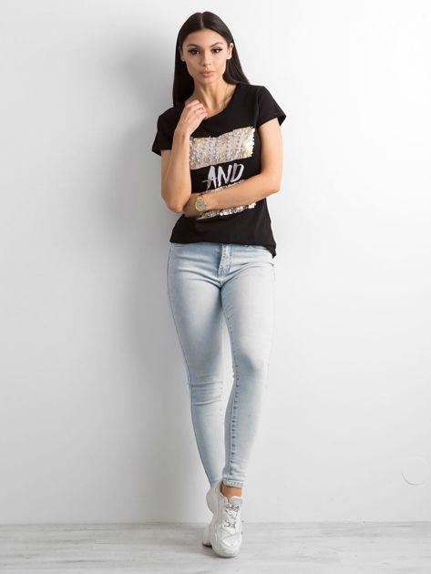 Czarny t-shirt z diamencikami                              zdj.                              4