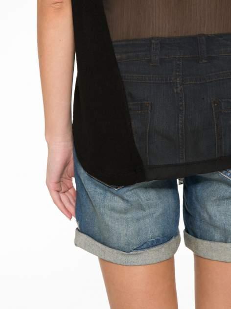 Czarny t-shirt z frędzlami i siateczkowym tyłem                                  zdj.                                  12