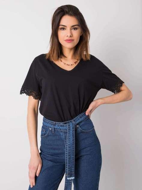 Czarny t-shirt z koronką Celeste RUE PARIS