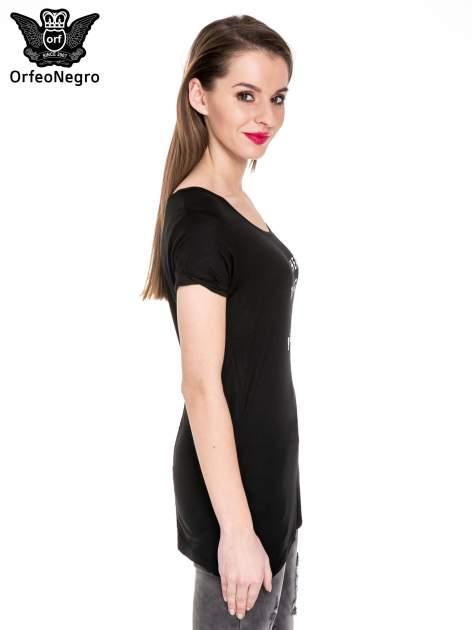 Czarny t-shirt z metalicznym napisem I HEARD THAT YOU LIKE BAD GIRLS                              zdj.                              3