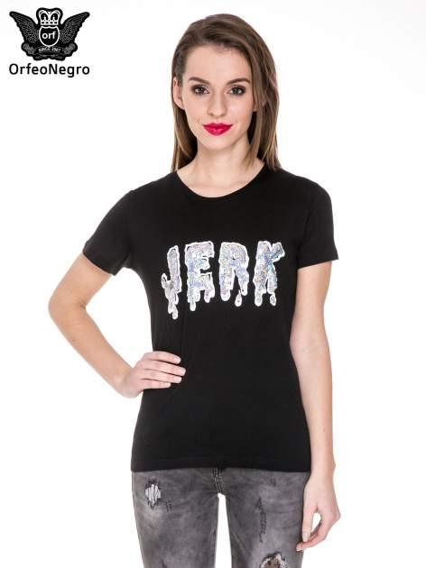 Czarny t-shirt z metalicznym napisem JERK