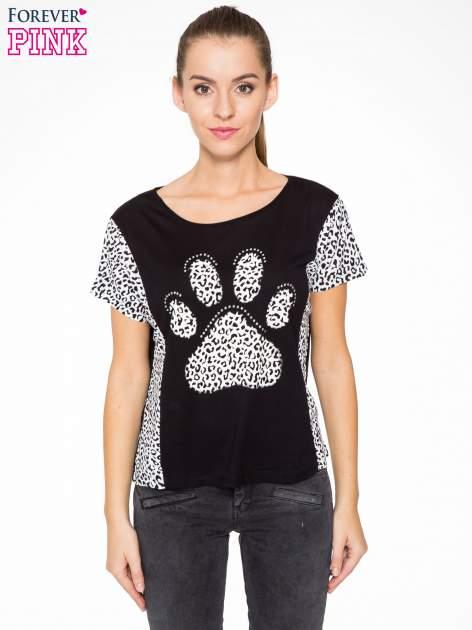 Czarny t-shirt z motywem pantery                                  zdj.                                  1