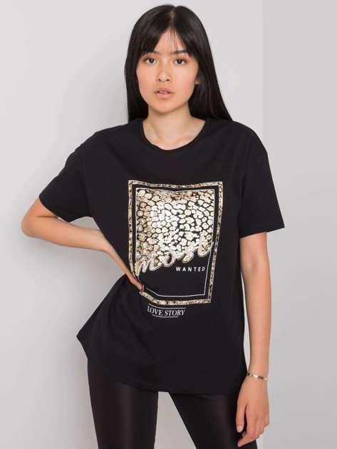 Czarny t-shirt z nadrukiem Mary
