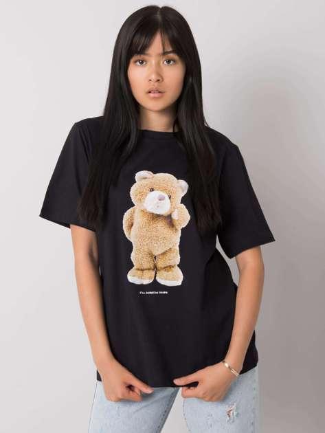 Czarny t-shirt z nadrukiem Teddy