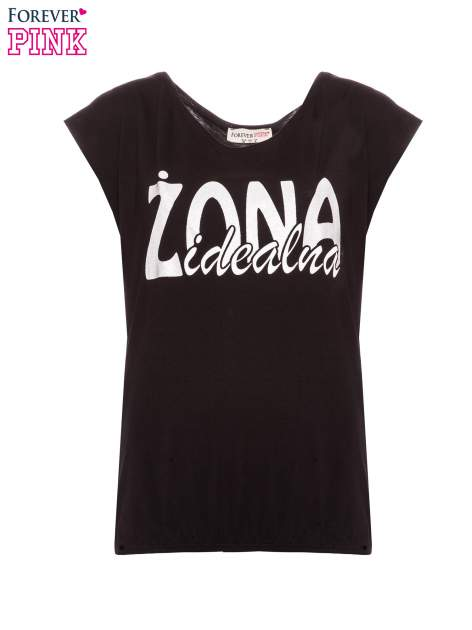 Czarny t-shirt z nadrukiem ŻONA IDEALNA                                  zdj.                                  2