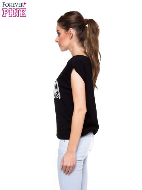 Czarny t-shirt z nadrukiem ŻONA IDEALNA                                  zdj.                                  3