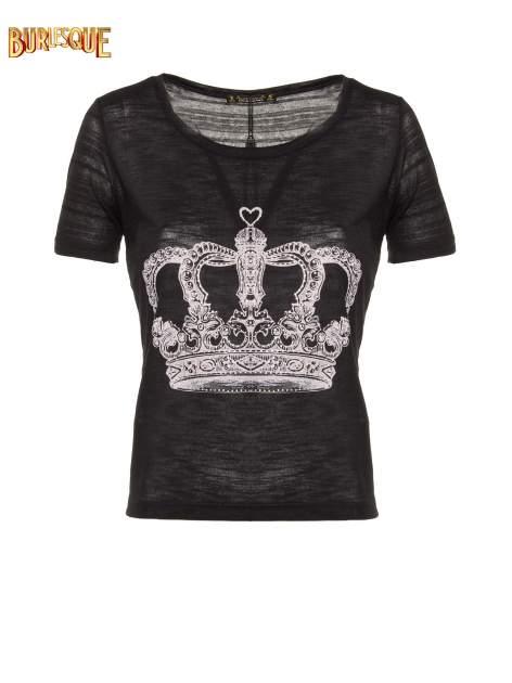 Czarny t-shirt z nadrukiem korony