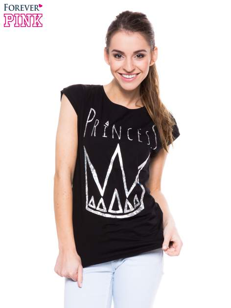 Czarny t-shirt z nadrukiem korony księżniczki                                  zdj.                                  1