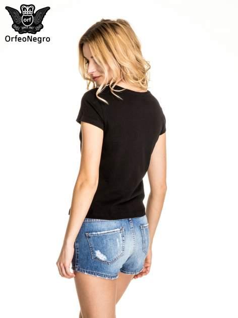 Czarny t-shirt z nadrukiem kotwicy                                  zdj.                                  4