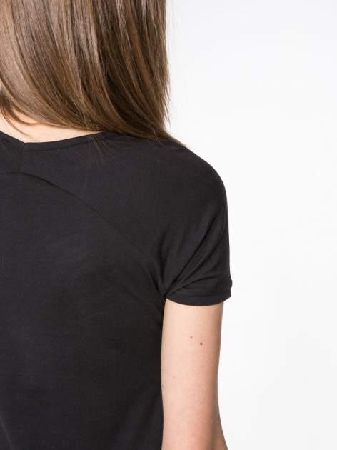 Czarny t-shirt z nadrukiem kwiatowym PRETTY GIRL                                  zdj.                                  8