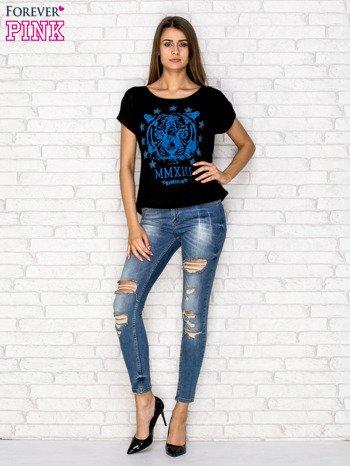 Czarny t-shirt z nadrukiem tygrysa i zipem z tyłu                                  zdj.                                  4