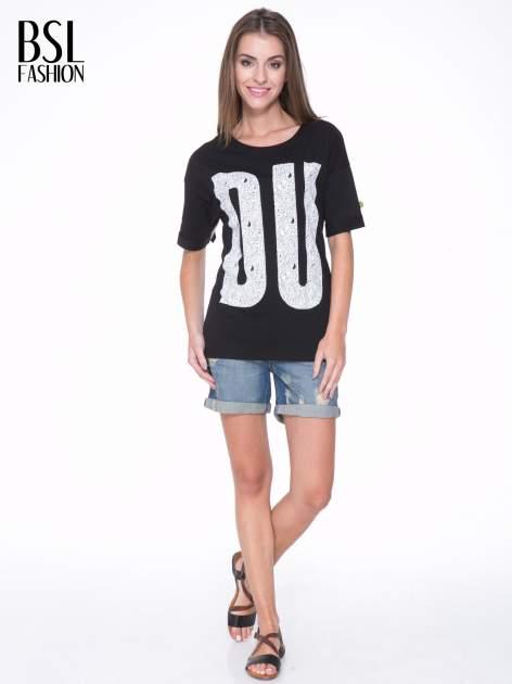 Czarny t-shirt z nadukiem DUDE z przodu i na plecach                                  zdj.                                  6