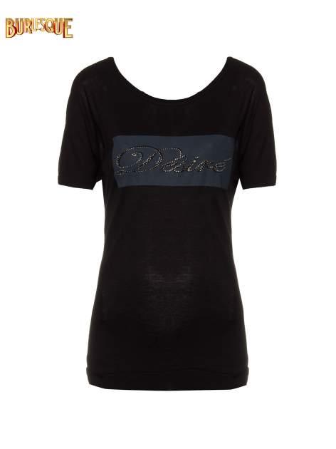 Czarny t-shirt z napisem DÉSIRÉ z dżetami                                  zdj.                                  1