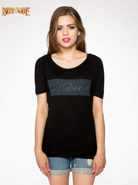 Czarny t-shirt z napisem DÉSIRÉ z dżetami                                  zdj.                                  11