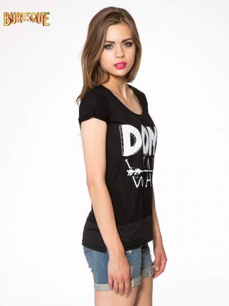 Czarny t-shirt z napisem DON'T WAIT                                  zdj.                                  3
