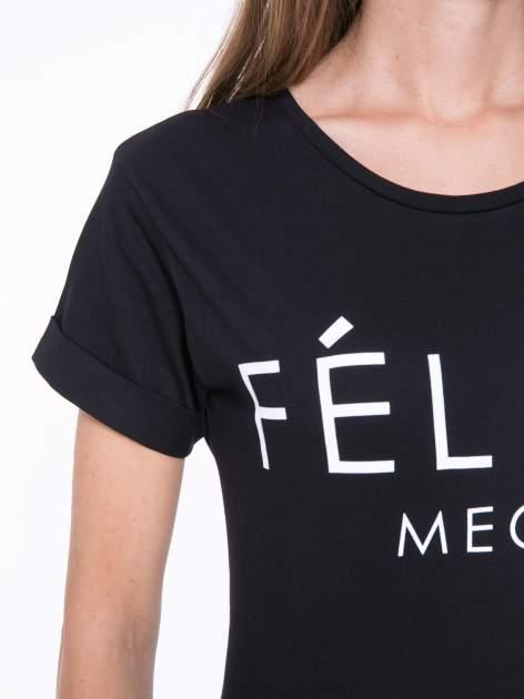 Czarny t-shirt z napisem FÉLINE MEOW                                  zdj.                                  7