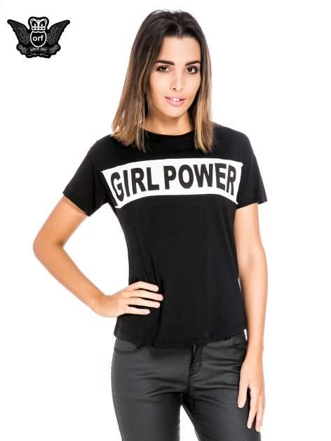 Czarny t-shirt z napisem GIRL POWER                                  zdj.                                  1