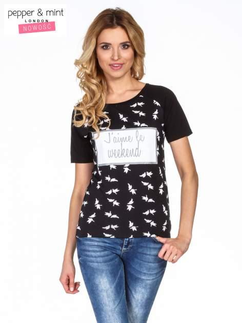 Czarny t-shirt z napisem J'AIME LE WEEKEND                                  zdj.                                  1