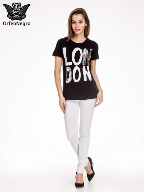 Czarny t-shirt z napisem LONDON                                  zdj.                                  2