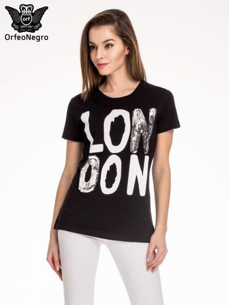 Czarny t-shirt z napisem LONDON                                  zdj.                                  1