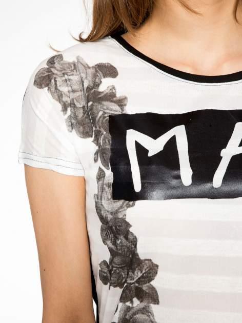 Czarny t-shirt z napisem MAD i kwiatowym nadrukiem                                  zdj.                                  5