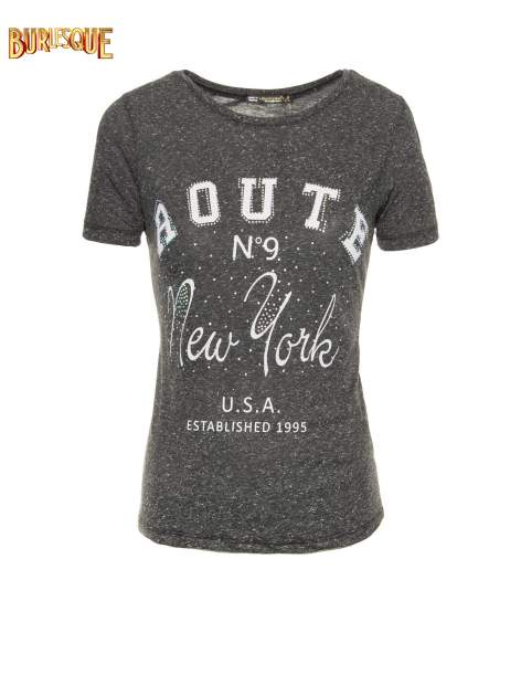 Czarny t-shirt z napisem ROUTE NEW YORK                                  zdj.                                  1