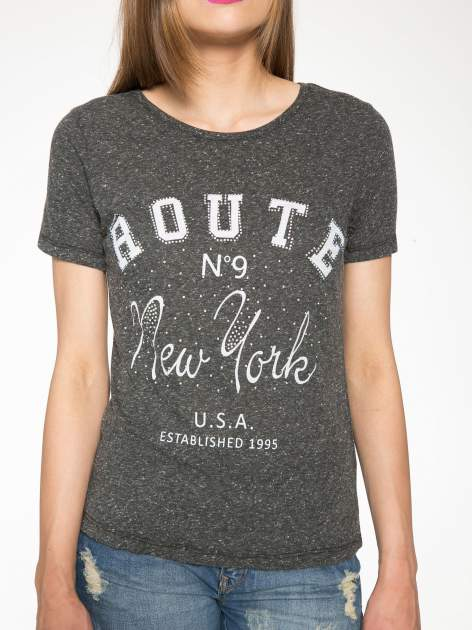 Czarny t-shirt z napisem ROUTE NEW YORK                                  zdj.                                  6