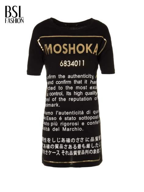 Czarny t-shirt z tekstowym nadrukiem i znakami chińskimi                                  zdj.                                  2
