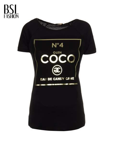 Czarny t-shirt ze złotym nadrukiem NO. 4 COCO                                  zdj.                                  2