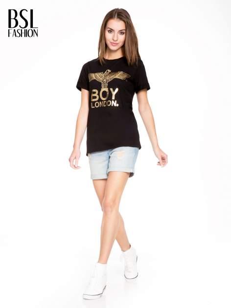 Czarny t-shirt ze złotym nadrukiem orła i napisem BOY LONDON                                  zdj.                                  5