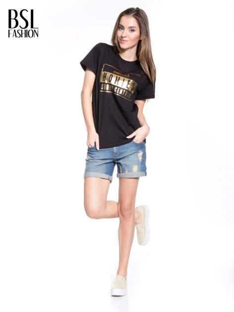 Czarny t-shirt ze złotym napisem HOMIES SOUTH CENTRAL                                  zdj.                                  5