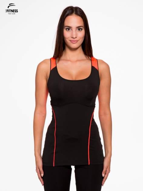 Czarny termoaktywny top sportowy z siateczką z tyłu i fluoróżowymi wstawkami ♦ Performance RUN