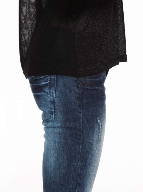 Czarny transparentny t-shirt przeplatany srebrną nicią                                  zdj.                                  9