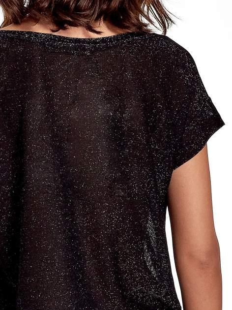 Czarny transparentny t-shirt przeplatany srebrną nicią                                  zdj.                                  6
