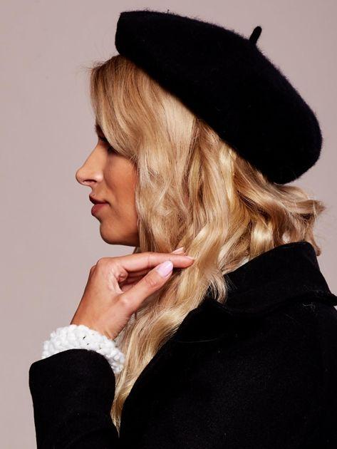Czarny wełniany beret                              zdj.                              2