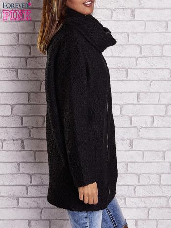 Czarny wełniany płaszcz z kieszeniami i dużym kołnierzem                                  zdj.                                  3