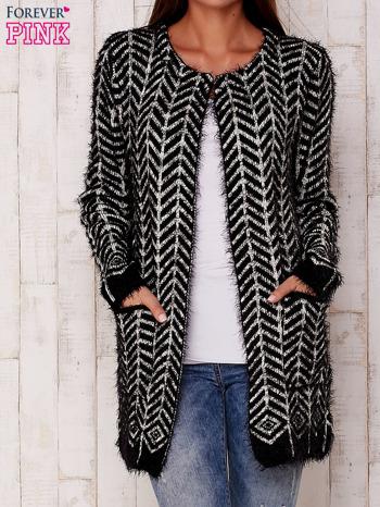 Czarny wełniany sweter z kieszeniami                                  zdj.                                  1