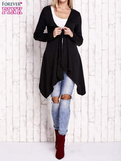 Czarny wiązany asymetryczny sweter                                  zdj.                                  2