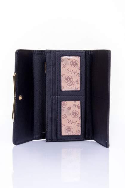 Czarny zamszowy portfel z geometrycznym motywem                                  zdj.                                  4