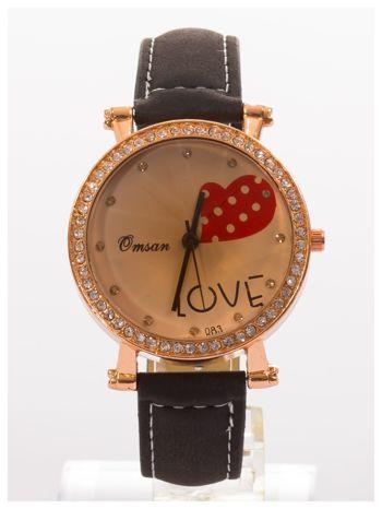 Czarny zegarek damski na skórzanej bransolecie                                  zdj.                                  1