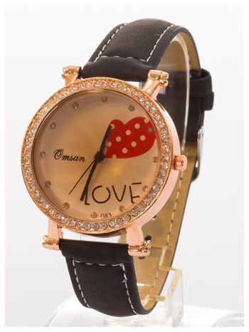 Czarny zegarek damski na skórzanej bransolecie                                  zdj.                                  2