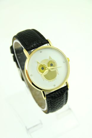 Czarny zegarek damski z sową na skórzanym pasku
