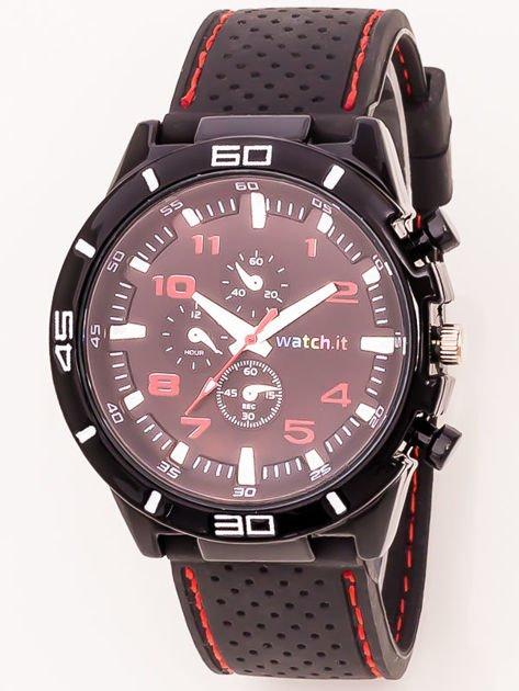 Czarny zegarek męski z czerwonymi wstawkami                              zdj.                              1