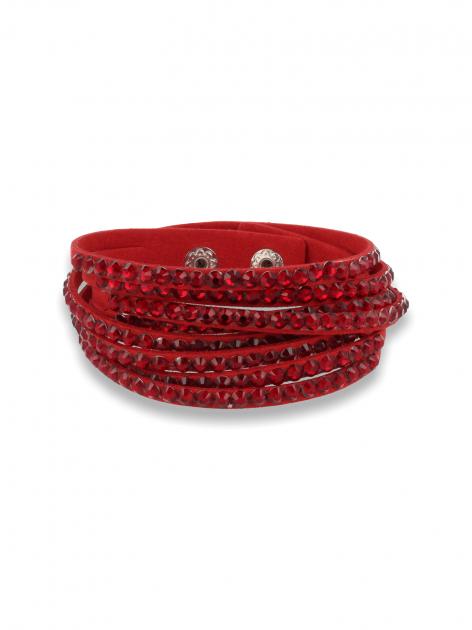 Czerwona Bransoletka na zamszowym pasku z cyrkoniami                                  zdj.                                  1