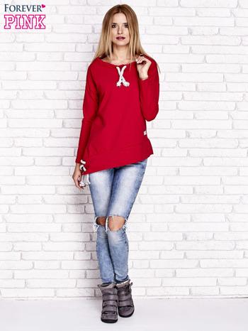 Czerwona asymetryczna bluza z troczkami                                  zdj.                                  2