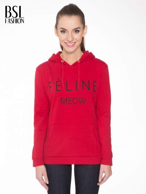 Czerwona bluza kangur z kapturem i nadrukiem FÉLINE MEOW                                  zdj.                                  1