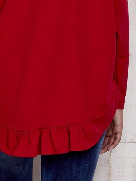 Czerwona bluza oversize z dekoltem w łódkę                                  zdj.                                  6